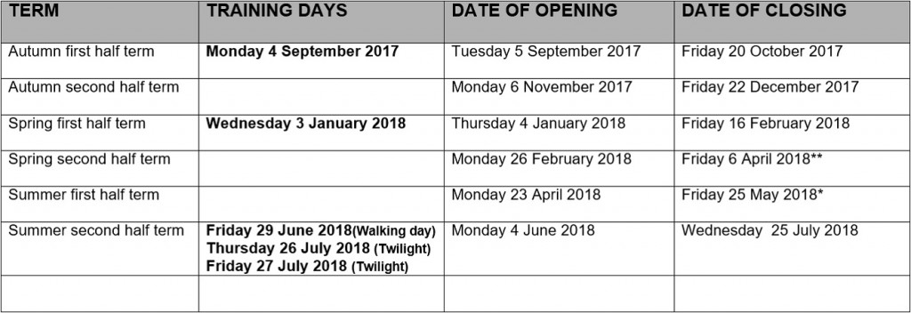 Term Dates 2017-18