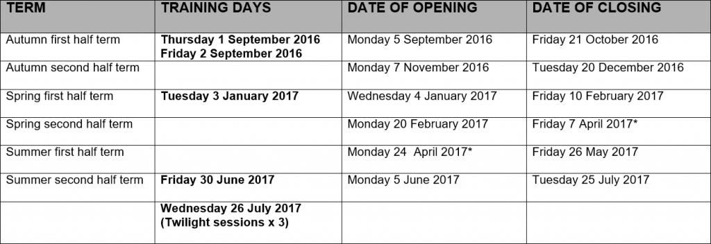 Term Dates 16/17