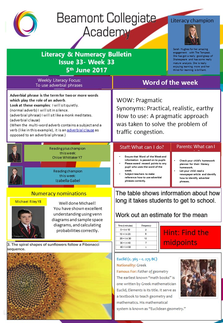 Literacy and Numeracy wk 33