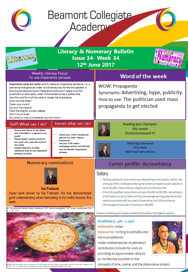 Literacy and Numeracy wk 34