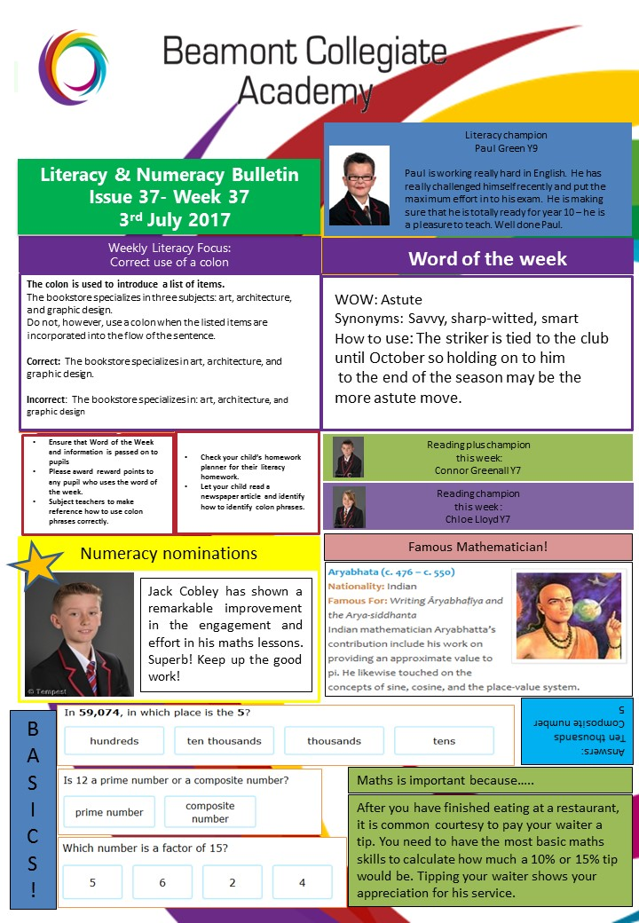Literacy and numeracy wk 37