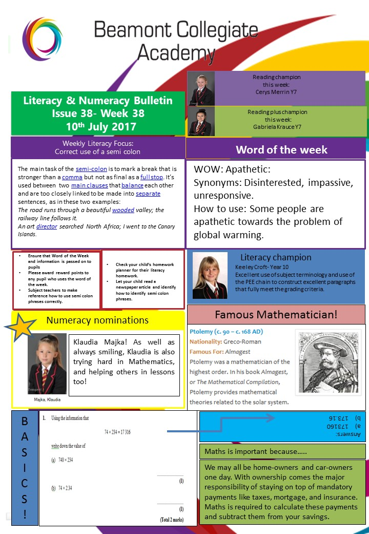 Literacy and numeracy wk 38