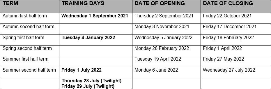Term Dates 2020-21
