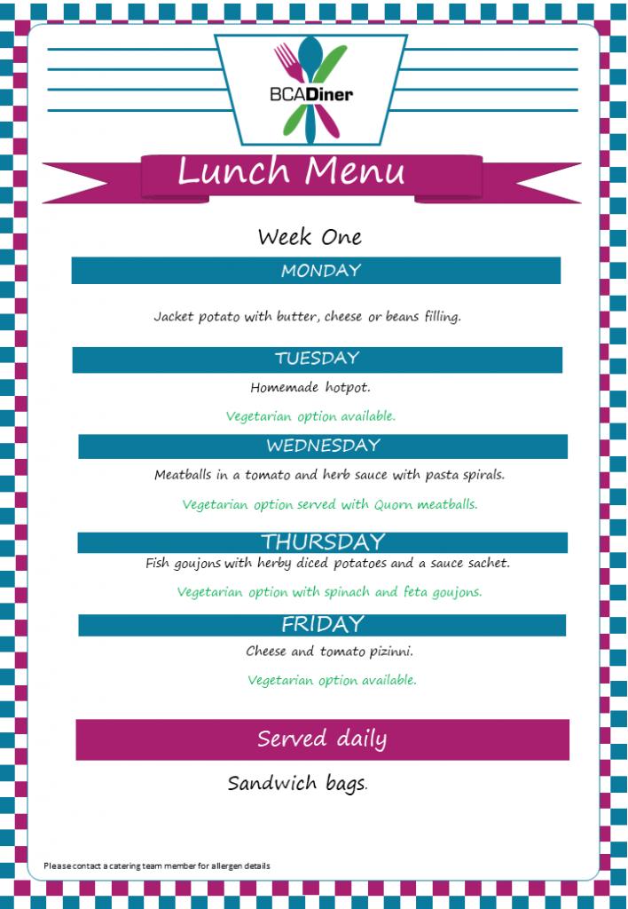 diner_ week one menu