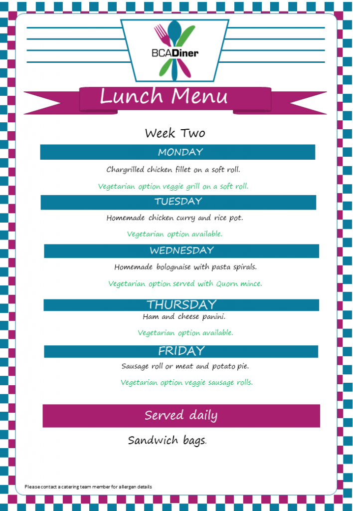 diner_ week two menu