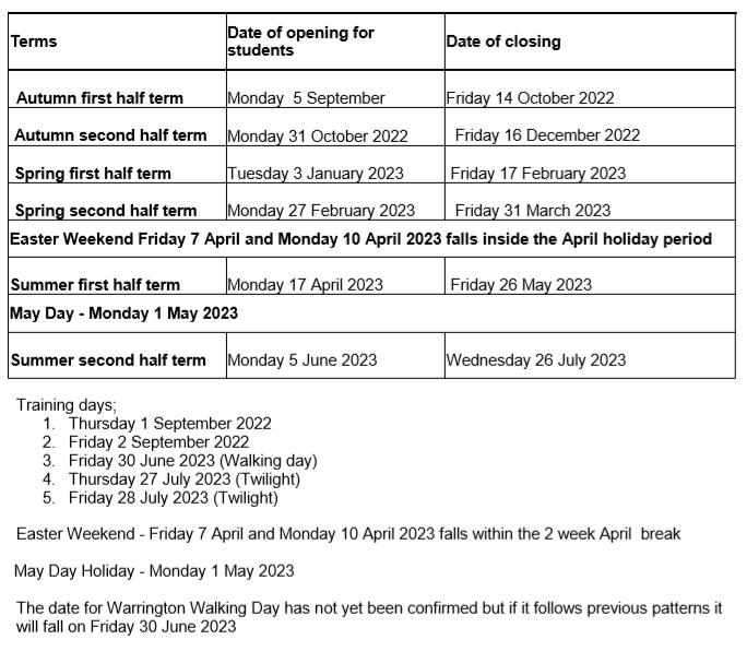 term dates 2022 23