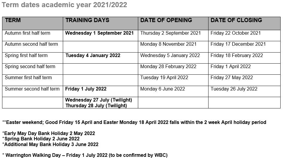 Dates 2021 2022