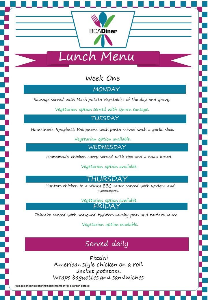 diner menu  week 1 Sept 2021